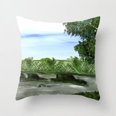 New Hope Lambertville Bridge Throw Pillow