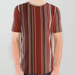 Red Fine Stripes All Over Graphic Tee