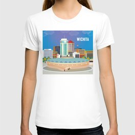 Wichita, Kansas - Skyline Illustration by Loose Petals T-shirt