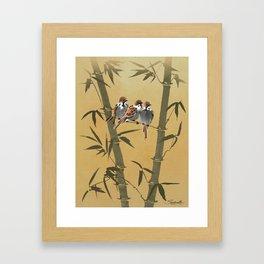 Three Sparrows In Bamboo Tree Framed Art Print