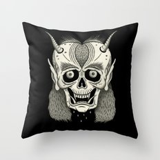 Grinning Skull with Horns Throw Pillow