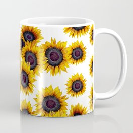 Sunflowers yellow white and dark grey pattern Coffee Mug