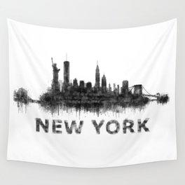 NY New York City Skyline NYC Black-White Watercolor art Wall Tapestry
