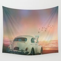 lama Wall Tapestries featuring NEVER STOP EXPLORING A SUNDOWN by Monika Strigel