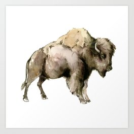 Bison, bison woodland Montana Wyoming state decor Art Print