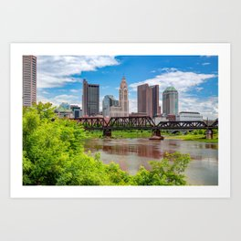 Columbus Skyline and Scioto River From North Bank Park Art Print