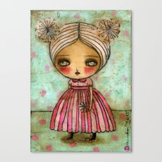 Dandelion Girl in Red And Pink Canvas Print