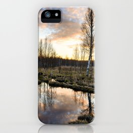 Reflection of the sky at sunset in the clear spring water of a forest river iPhone Case
