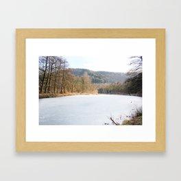 Frozen lake in Germany Framed Art Print