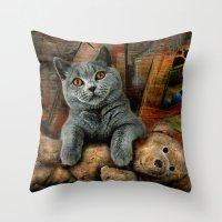 kpop Throw Pillows featuring Cat Diesel with teddybear ! by teddynash