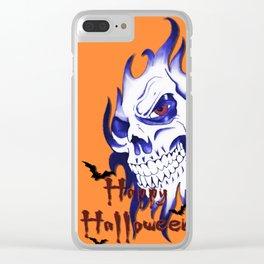 Halloween Skull, happy Halloween, demonic face, ghost, spooky, horror artwork Clear iPhone Case
