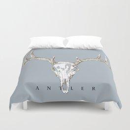 Antler Skull on Blue by Ron Brick Duvet Cover