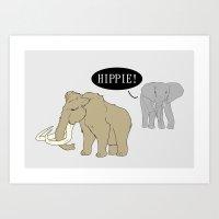 hippie Art Prints featuring Hippie by Digital Sketch