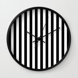Large Black and White Cabana Stripe Wall Clock