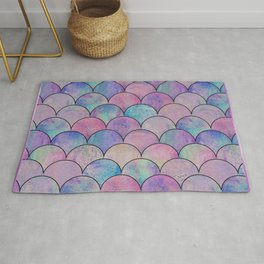 Informe Abstracta Pink Fish Scale Pattern Scallop Abstract Design Rug