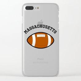 Massachusetts American Football Design black lettering Clear iPhone Case