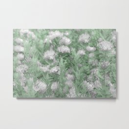Green and White Textured Botanical Motif Manipulated Photo Metal Print