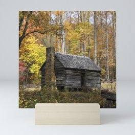 Smoky Mountain Rural Rustic Cabin Autumn View Mini Art Print