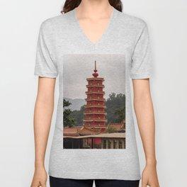 Pagoda, Ten Thousand Buddhas Monastery, Hong Kong Unisex V-Neck