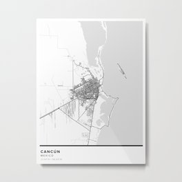 Cancún Simple Map Metal Print