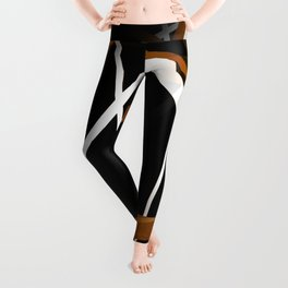 Seamless Sienna and White Stripes on A Black Background Leggings