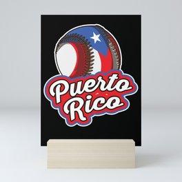 Puerto Rico Baseball   Proud Boricua Flag Mini Art Print