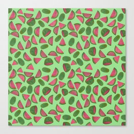 Whole Watermelons Wedged and Sliced Pattern on Mint Green Canvas Print