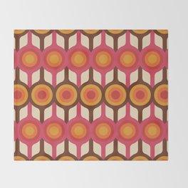 Magenta, Orange, Ivory & Brown Retro 1960s Circle Pattern Throw Blanket
