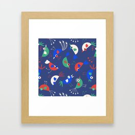 Geometric Birdies Framed Art Print