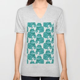 Chinese Guardian Lion Statues in Emerald Jade Unisex V-Neck