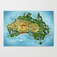 australia Canvas Prints featuring Australia by Steebz
