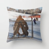 outdoor Throw Pillows featuring Outdoor hockey rink by RMK Photography