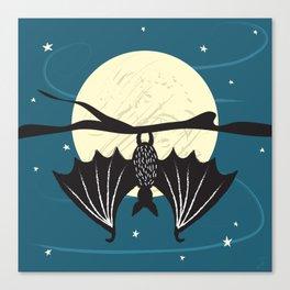 Bat in the Moonlight Canvas Print