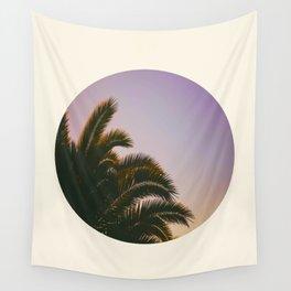 Sunset Purple Palm Tree Circle Photo Wall Tapestry