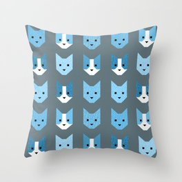 Geometric Cat Quilt // Blue Throw Pillow
