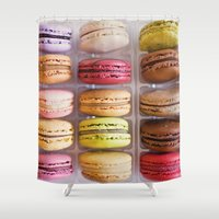 macarons Shower Curtains featuring French Macarons  by Laura Ruth