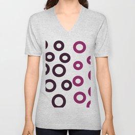 Pink design Dots on white Unisex V-Neck