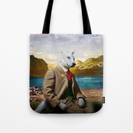 Mr. Wolf Relaxing at the Lake Tote Bag