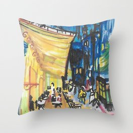 Recomposed: Cafe Terrace at Night Throw Pillow
