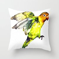parrot Throw Pillows featuring Parrot by cmphotography