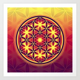 FLOWER OF LIFE batik style yellow red Art Print