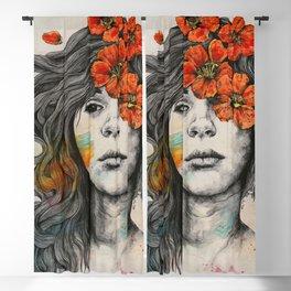 Softly Spoken Agony   flower girl pencil portrait Blackout Curtain