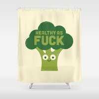 vegetarian Shower Curtains featuring Raw Truth by David Olenick