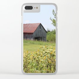 Barn and the sunflowers Clear iPhone Case
