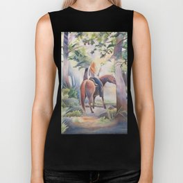 Quiet Woodland Horse Ride Biker Tank