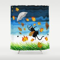 umbrella Shower Curtains featuring Umbrella  by Andrew Hitchen