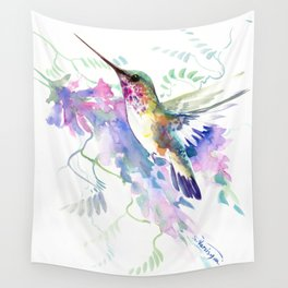 Hummingbird and Soft Purple Flowers Wall Tapestry