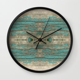 Weathered Rustic Wood - Weathered Wooden Plank - Beautiful knotty wood weathered turquoise paint Wall Clock