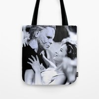 michael myers Tote Bags featuring MICHAEL MYERS IN DIRTY DANCING by Luigi Tarini