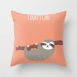 Sloth card - I don't care Throw Pillow